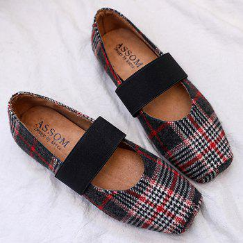 Color Block Plaid Mary Jane Flats - RED 39