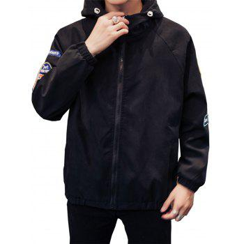 Appliques Zip Up Raglan Sleeve Jacket - BLACK BLACK