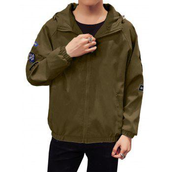 Appliques Zip Up Raglan Sleeve Jacket - ARMY GREEN ARMY GREEN