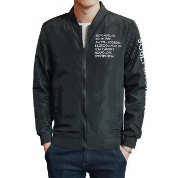 Rib Zip Up Graphic Print Lightweight Jacket - BLACK BLACK