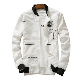 Graphic Print Lightweight Zip Up Jacket - WHITE WHITE