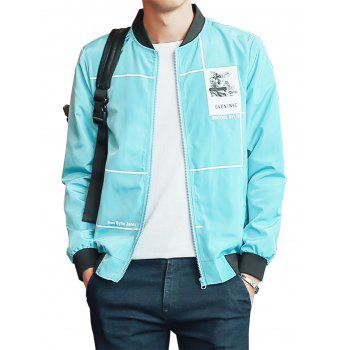 Graphic Print Lightweight Zip Up Jacket - AZURE XL
