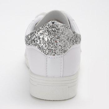 Star Glitter PU Leather Skate Shoes - WHITE 40