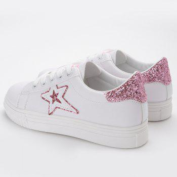 Star Glitter PU Leather Skate Shoes - PAPAYA 37