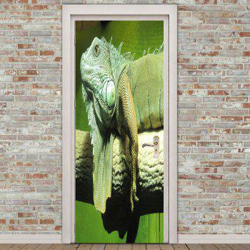 Environmental Chameleon Printed Door Art Stickers - GREEN 38.5*200CM*2PCS