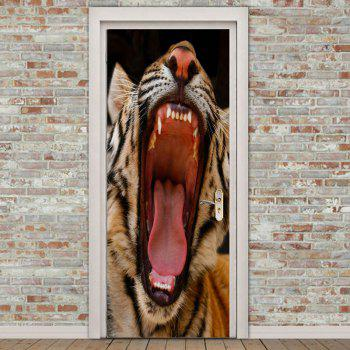 Angry Tiger Printed Decorative Door Stickers - BROWN 38.5*200CM*2PCS