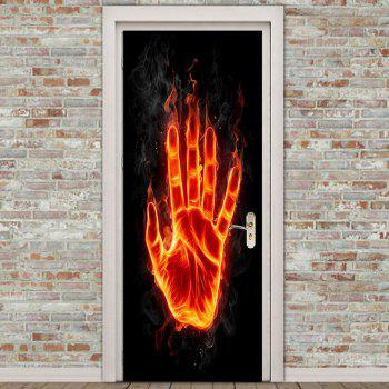 Flame Palm Printed Removable Door Stickers - GOLD BROWN 38.5*200CM*2PCS