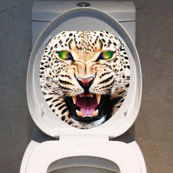 Angry Leopard Print Bathroom Decor Toilet Sticker - COLORMIX 12.6*15.4 INCH