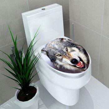 Fierce Wolf Printed Bathroom Decor Toilet Sticker - GRAY 12.6*15.4 INCH