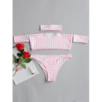 Checked Bandeau Top and Thong Set Costume - PINK PINK