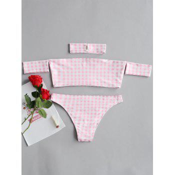 Checked Bandeau Top and Thong Set Costume - PINK M