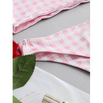 Checked Bandeau Top and Thong Set Costume - PINK L