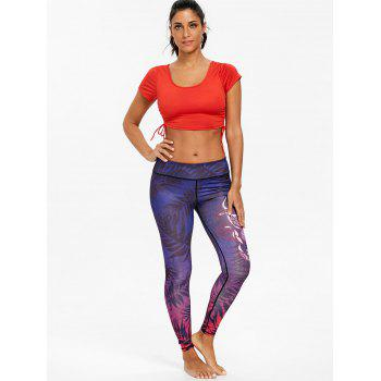 Skinny Ombre Leaf Print Sports Leggings - PURPLE M