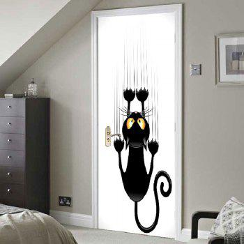 Wall Climbing Cat Printed Door Stickers - BLACK WHITE BLACK WHITE