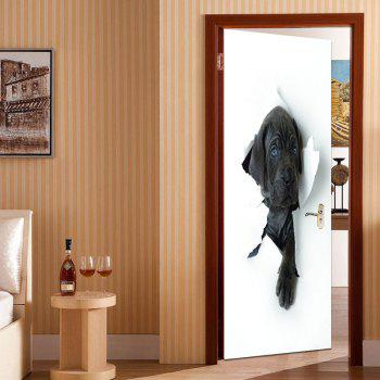 Removable 3D Hole View Dog Door Stickers - BLACK WHITE BLACK WHITE