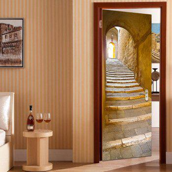 Decorative Stairs Entrance Print Door Stickers - BROWN 38.5*200CM*2PCS