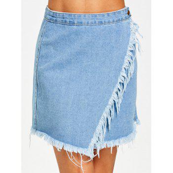 Button Fly Frayed Hem Jean Skirt - DENIM BLUE DENIM BLUE
