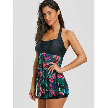 Skirted Mesh Sheer Print Tankini Set - JADE GREEN JADE GREEN