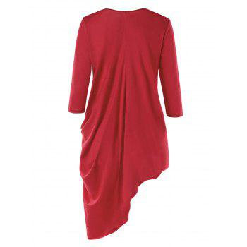 Three Quarter Sleeve Asymmetric Tunic Top - RED RED