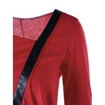 Three Quarter Sleeve Asymmetric Tunic Top - RED XL