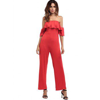 Off The Shoulder Wide Leg Jumpsuit - RED RED