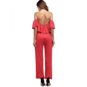 Ruffle Off The Shoulder Palazzo Jumpsuit - RED XL