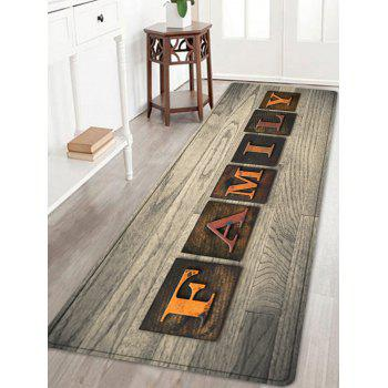 Wood Grain Family Word Printed Water Absorption Area Rug - TAUPE W24 INCH * L71 INCH