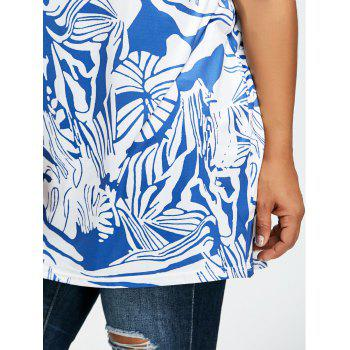 Graphic Plus Size T-shirt - GRAY/BLUE 3XL