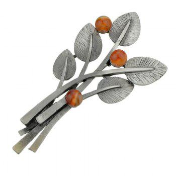 Elliptical Leaves and Beaded Decor Metal Brooch Pin - RED