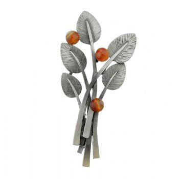 Elliptical Leaves and Beaded Decor Metal Brooch Pin - RED RED