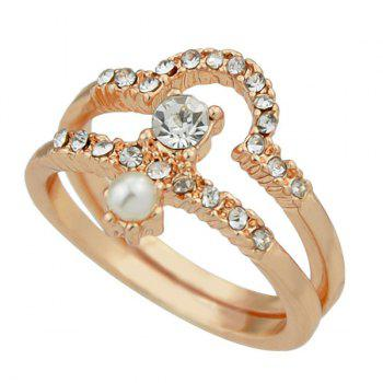 Rhinestone Faux Pearl Decorated Layered Ring Set - GOLDEN GOLDEN