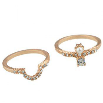 Rhinestone Faux Pearl Decorated Layered Ring Set - GOLDEN