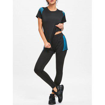 Striped Four Pieces Sports Set - BLUE AND BLACK BLUE/BLACK