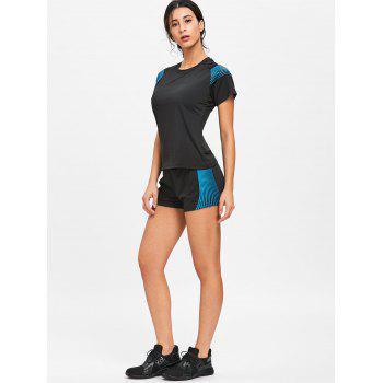Striped Four Pieces Sports Set - BLUE/BLACK BLUE/BLACK