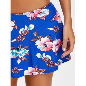Flowers Pattern Beach Swim Skirt - BLUE M