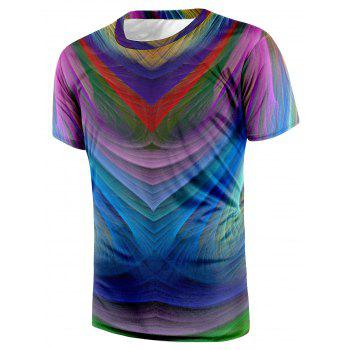 Crew Neck Short Sleeve Colorful Tee - COLORMIX COLORMIX