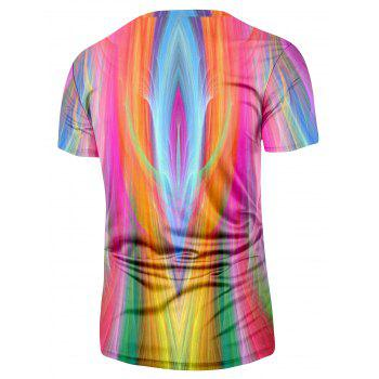 Crew Neck Short Sleeve Colorful Tee - COLORMIX 3XL