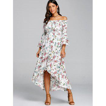Floral Print Off The Shoulder Midi Dress - WHITE M