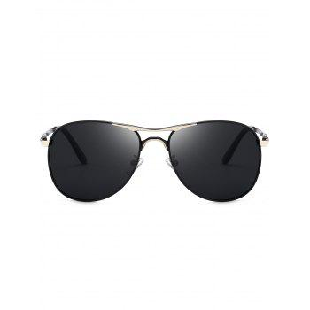Full Frame Metallic Pilot Sunglasses - BLACK