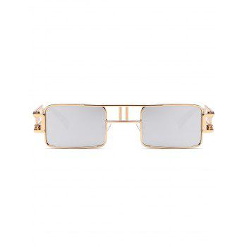 Cut Out Carver Frame Square Sunglasses - REFLECTIVE WHITE COLOR