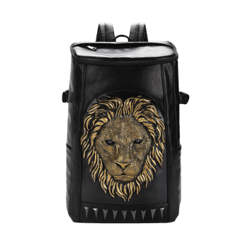 3D Lion Embellished Backpack - GOLDEN