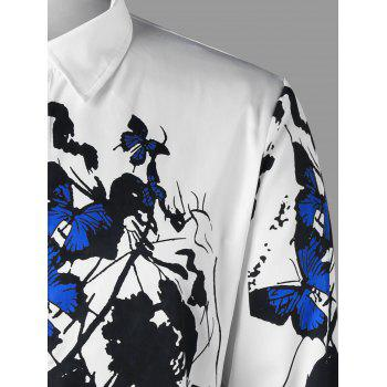 Butterfly Pattern Shirt - BLUE/WHITE L