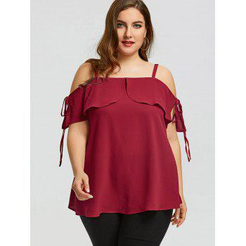 Plus Size Spaghetti Strap Open Shoulder Top - RED 5XL