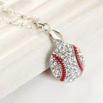 Faux Diamond Sporty Baseball Shape Pendant Necklace - SILVER