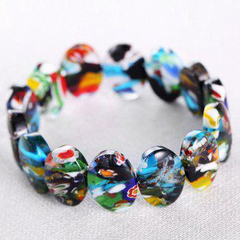 Oval Shape Natural Stone Beaded Colourful Bracelet - FLORAL