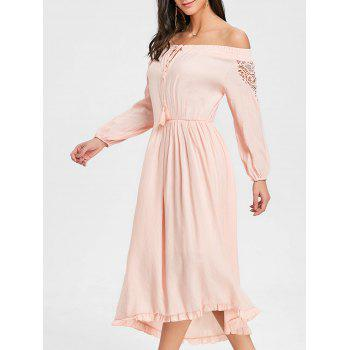 High Low Off The Shoulder Maxi Dress - PINK PINK