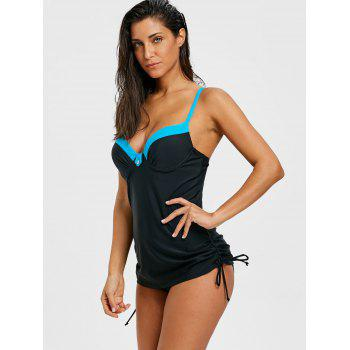 Two Tone Push Up Tankini Set - BLACK M