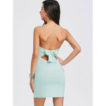 Bow Crochet Insert Tube Dress - GREEN L