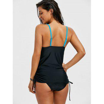 Two Tone Push Up Tankini Set - BLACK XL