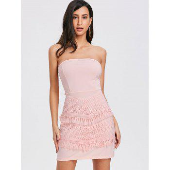 Bow Crochet Insert Tube Dress - PINK L